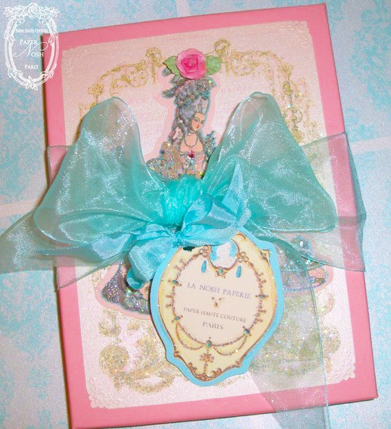 Marie Antoinette Set of Ten Die Cut Gift Tags with Custom Gift Box