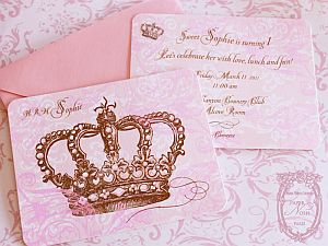 Pink OR Blue Princess Crown Invitation