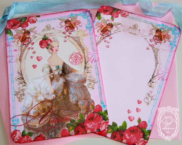 Bella Valentine Marie Card Set with Pretty Pink Envelopes and Seals