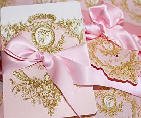 Marie Antoinette Cameo Pink and Gold Silhouette Invitations