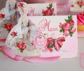 Marie Antoinette Placecards La Bella Roses Glittered with DieCut Marie Set of Six