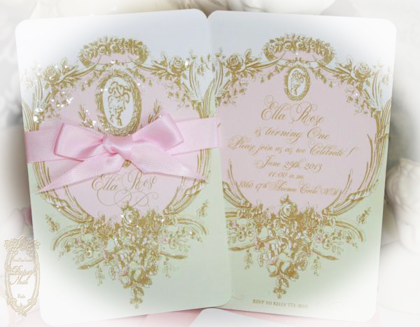 Marie Antoinette Laduree Inspired Mint Macaron Cameo Silhouette Wedding and Event Invitations