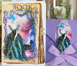 Marie Antoinette Halloween Maleficent Card Set of 6 with Purple Metallic Envelopes and Seals