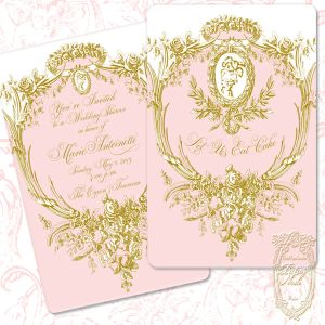Marie Antoinette Silhouette Pink and Gold Invitations 300.jpg