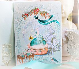 "Marie Antoinette Christmas Woodland Snowglobe Set of 5 x 7"" Folding Cards and Aqua Shimmer Envelopes"