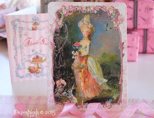 Marie la Belle Dame Easter Confiseries le Lapin Card or Invitations Set Choose Flat or Folding Card