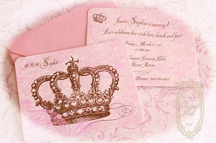 Pink Princess Crown Invitation